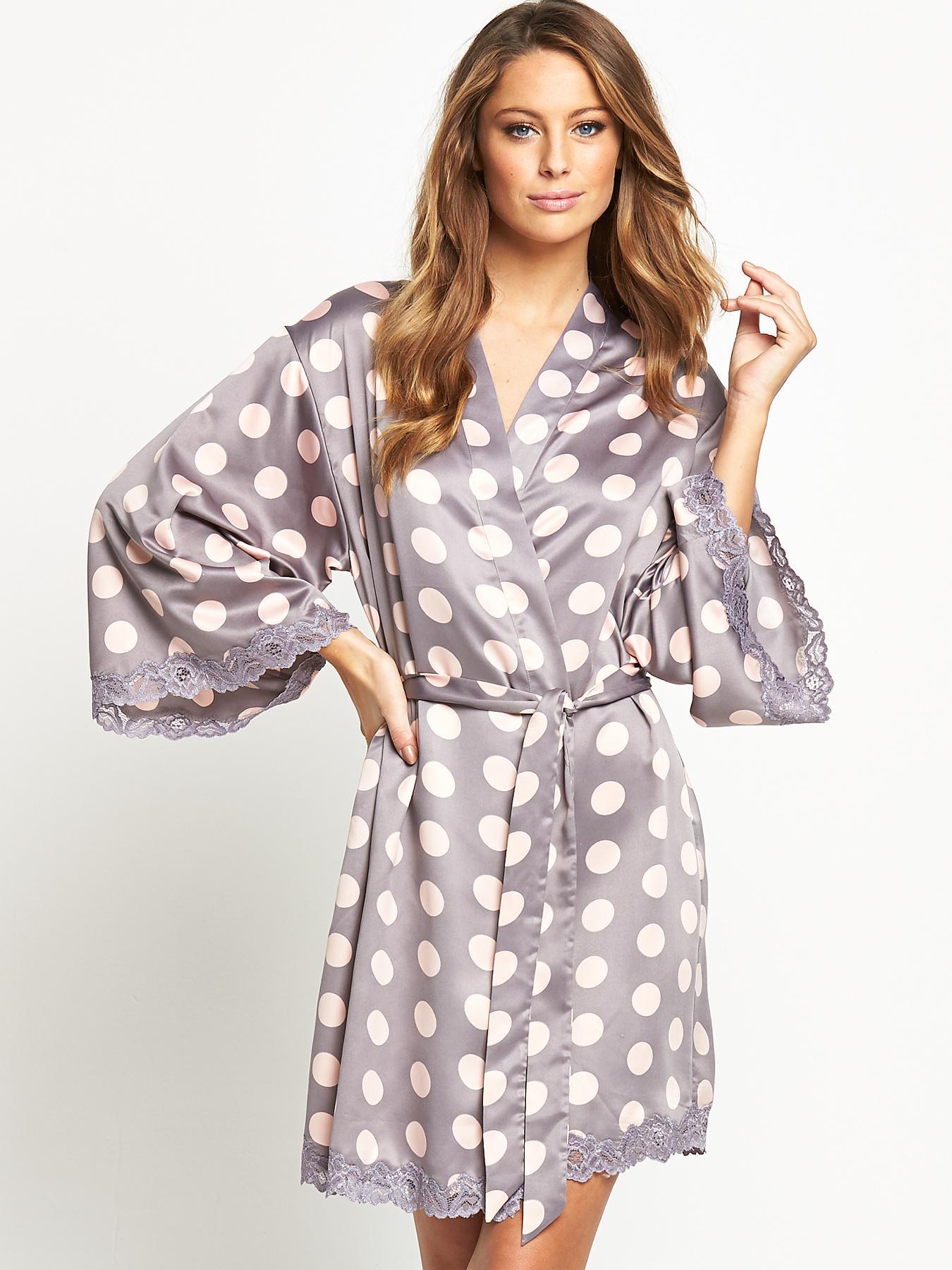 Sorbet Satin Spot Kimono - Grey, Grey