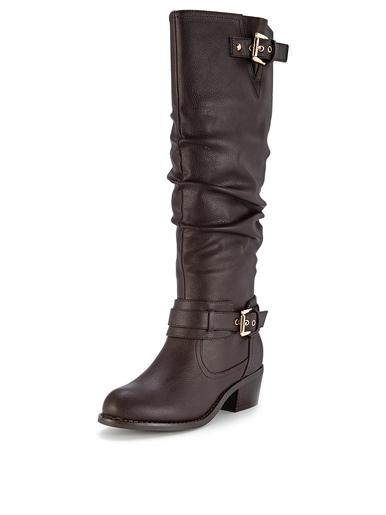 Shoe Box Tegan Double Buckle Mid Heel Calf Boots - Brown, Brown