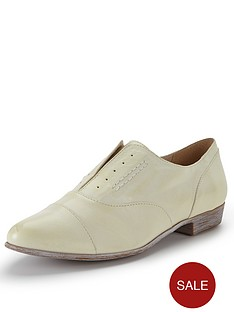 clarks-dawson-revel-pale-yellow-slip-on-brogues
