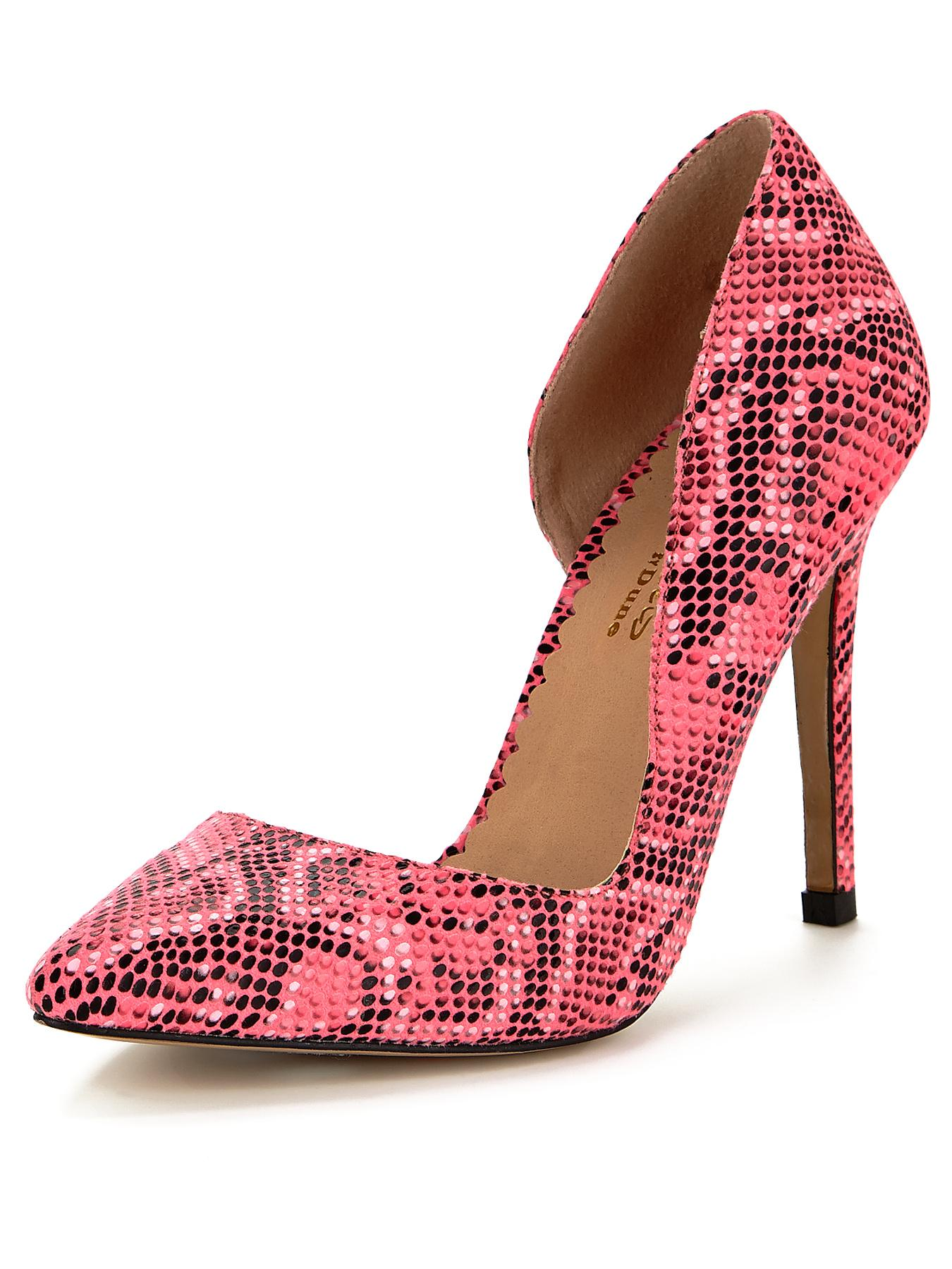 Head Over Heels Clarris Snake Print Pointed Court Shoes - Pink, Pink