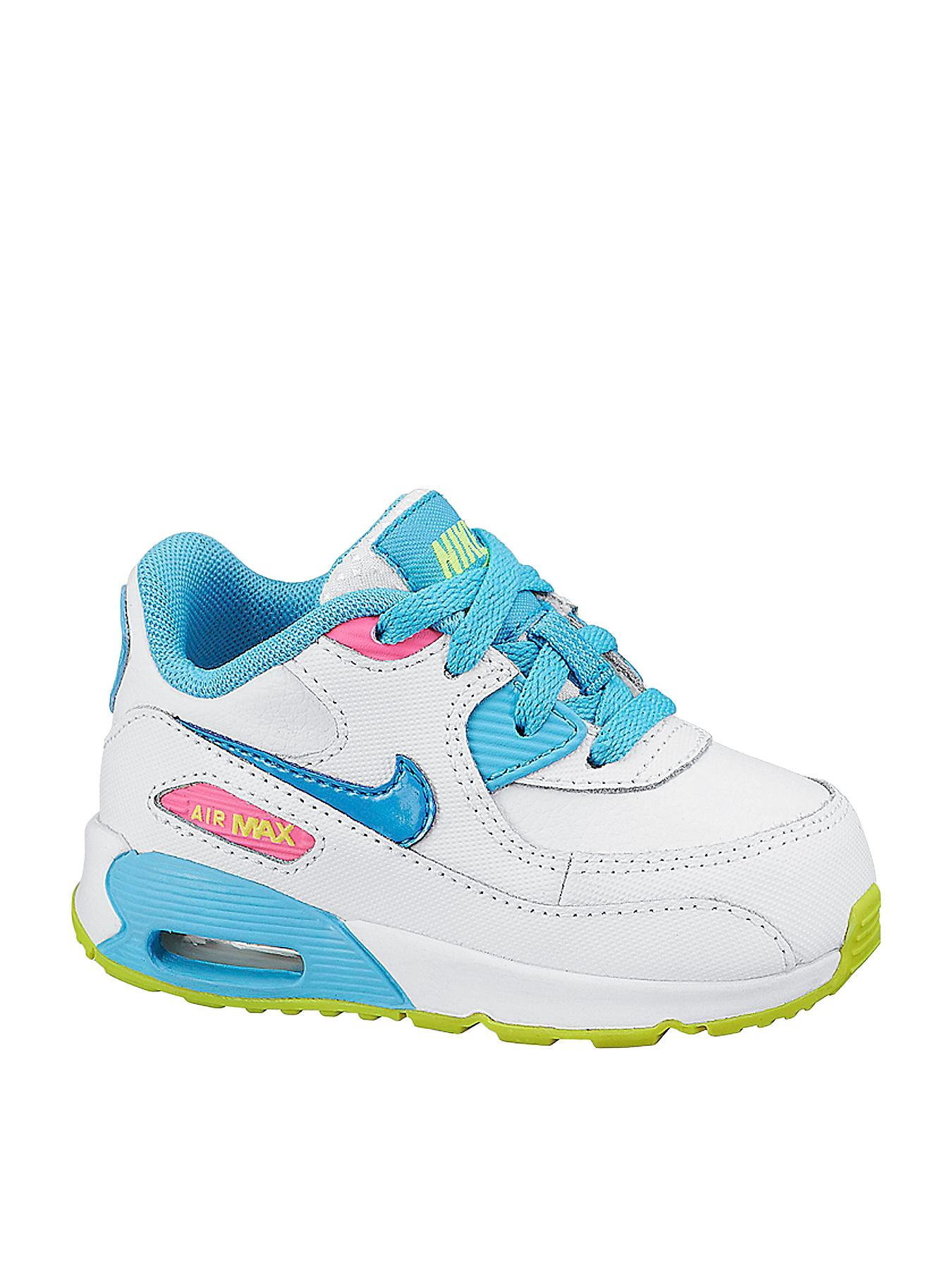 Nike Air Max 90 2007 Toddler Trainers - White/Blue - White, White
