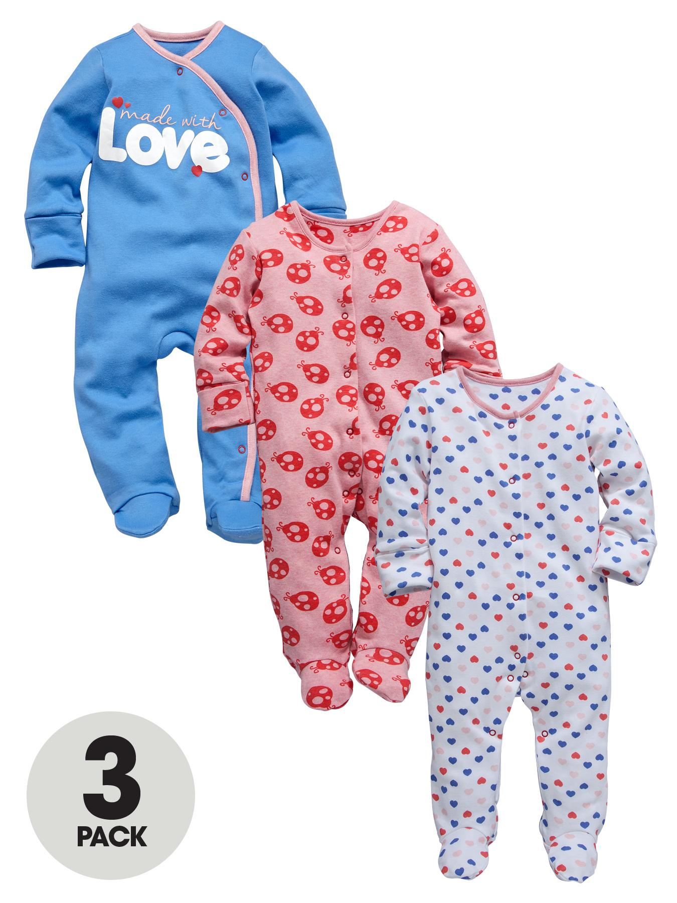 Ladybird Baby Girls Ladybird and Heart Sleepsuits (3 Pack)