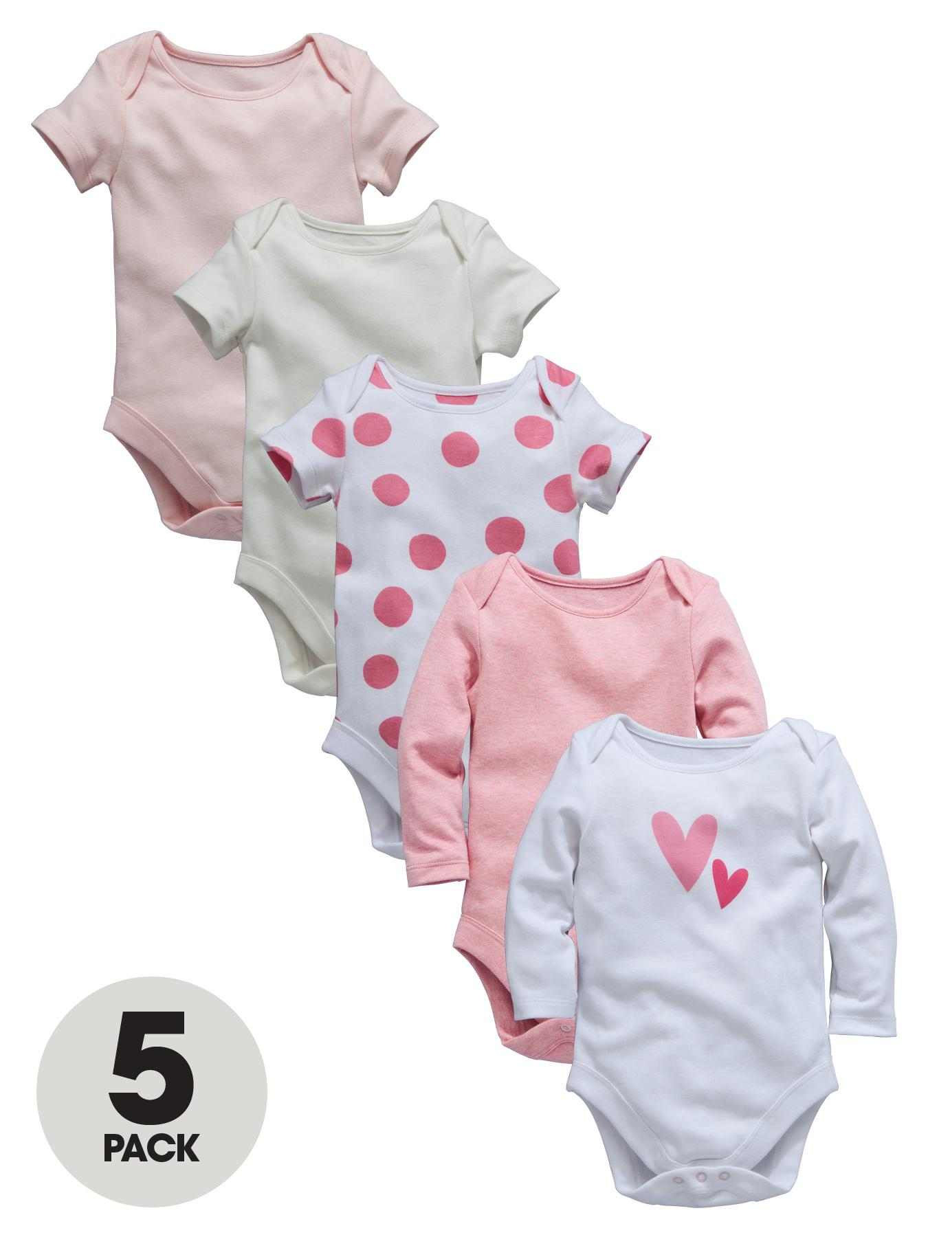 Ladybird Baby Girls Bodysuits Marl, Plain and Spots (5 Pack) - Pink, Pink