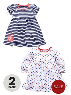 ladybird-baby-girls-short-and-long-sleeved-dresses-in-stripe-and-heart-print-2-pack