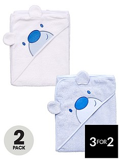 ladybird-baby-boys-bear-appliqueacute-hooded-towels-2-pack