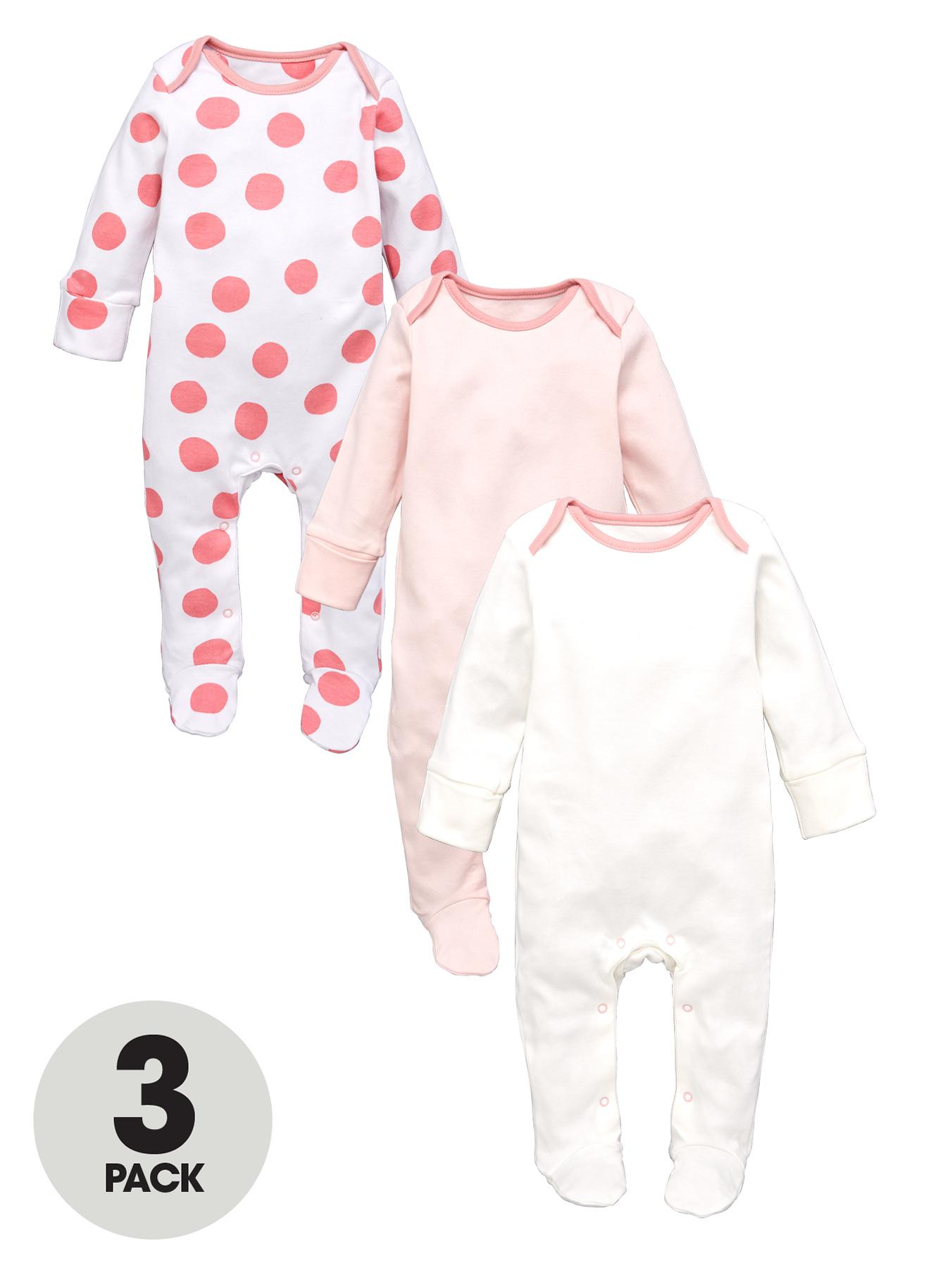 Ladybird Girls Great Value Sleepsuits (3 Pack) - Pink, Pink