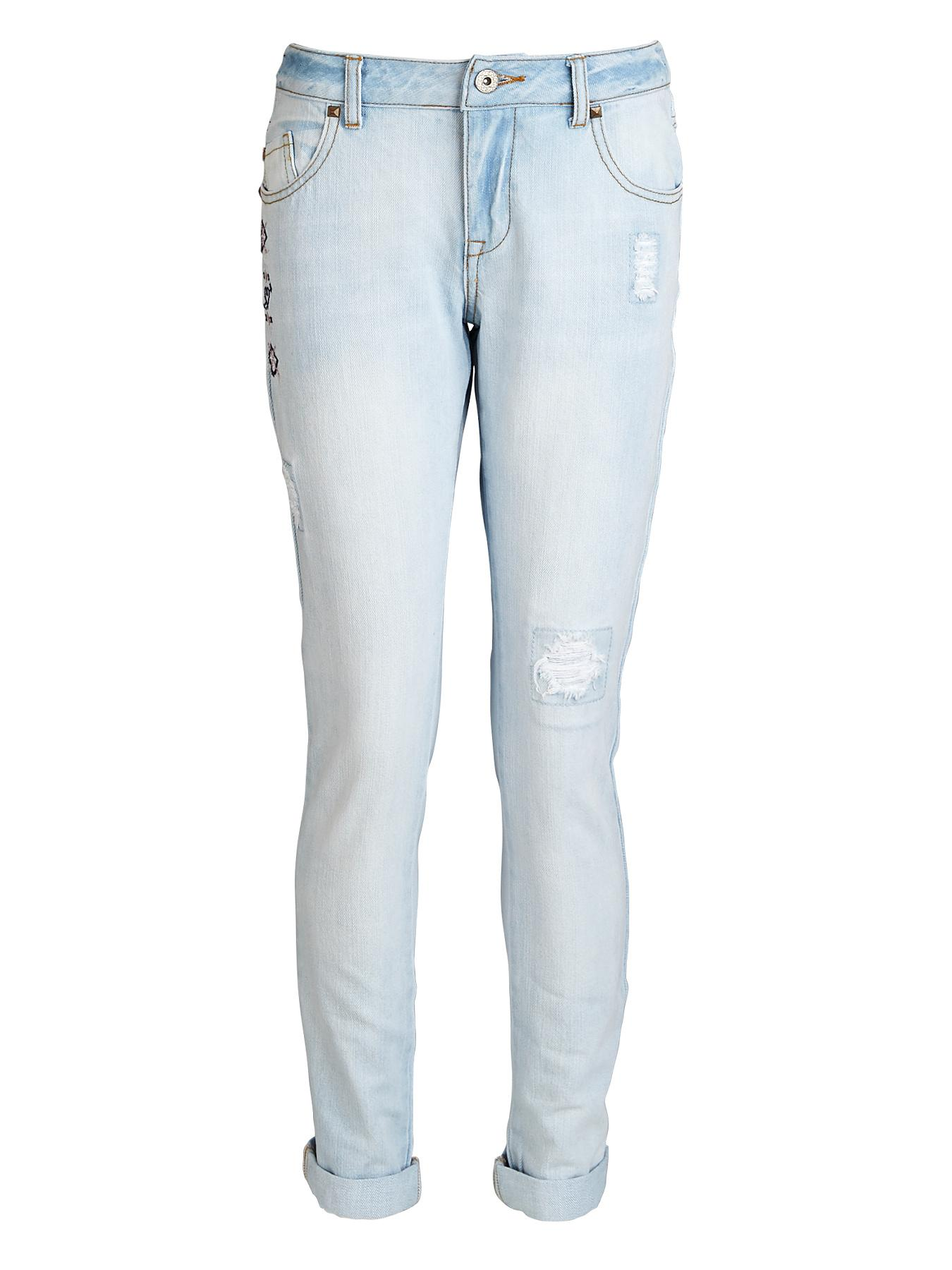 Freespirit Girls Bleached Girlfriend Fit Jeans with Rips and Embroidery