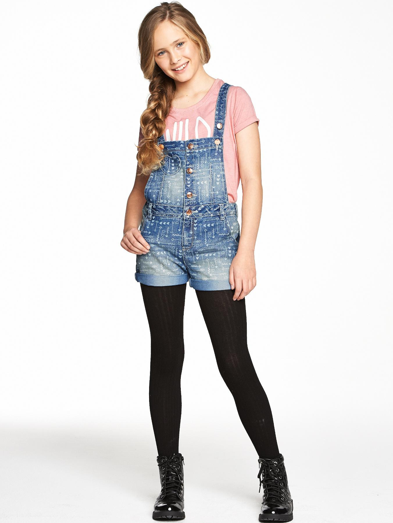 Freespirit Girls Printed Denim Dungarees