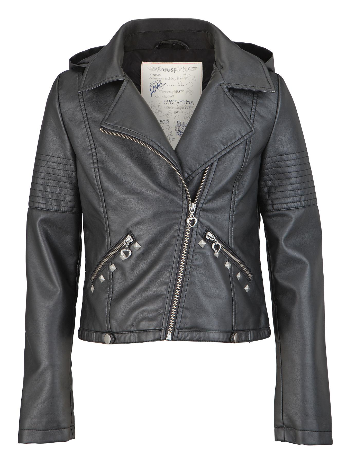 Freespirit Girls PU Biker Jacket with Detachable Hood and Studs - Black, Black