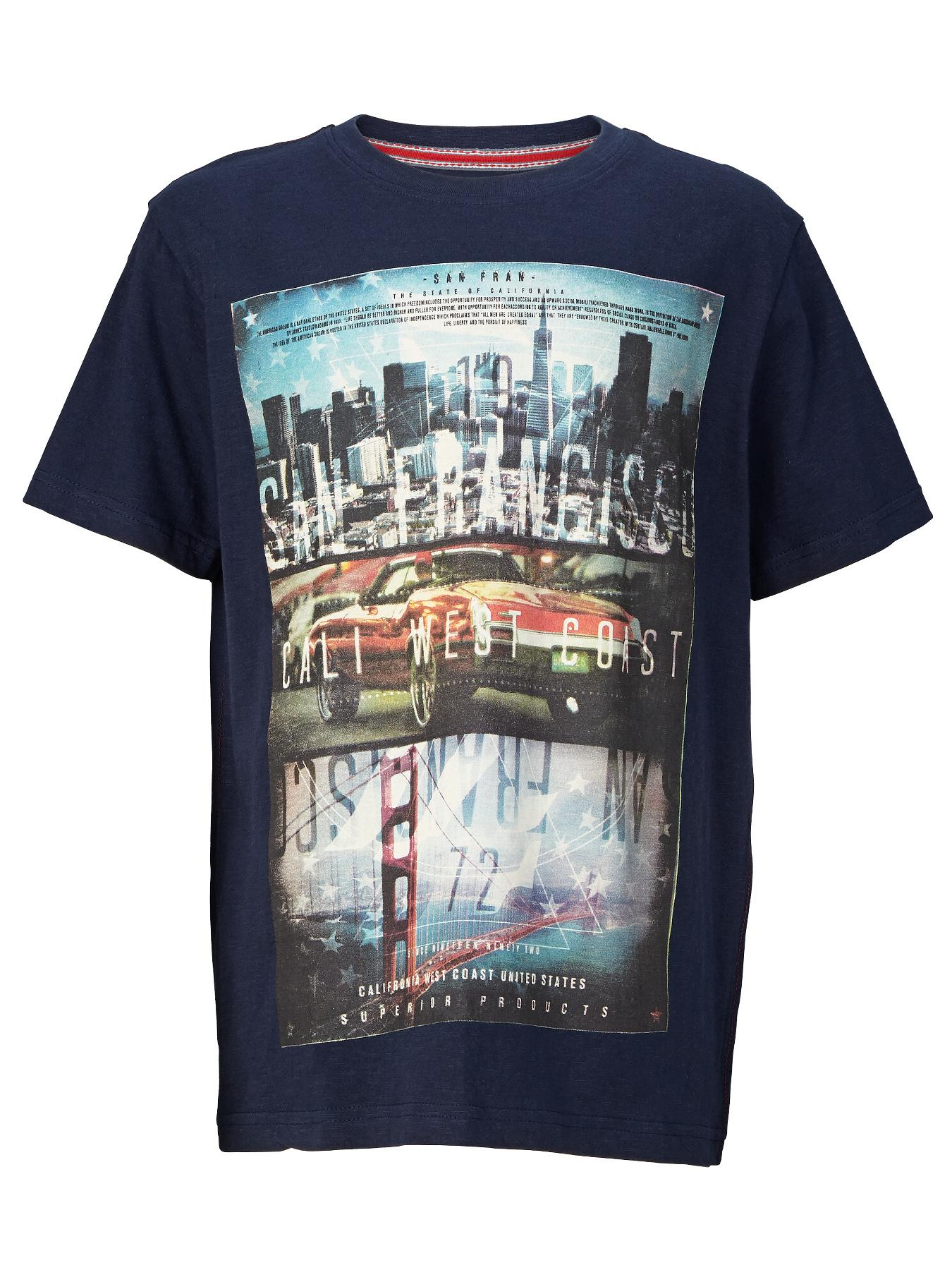 Demo Short Sleeve Cityscape Slub Tee - Navy, Navy