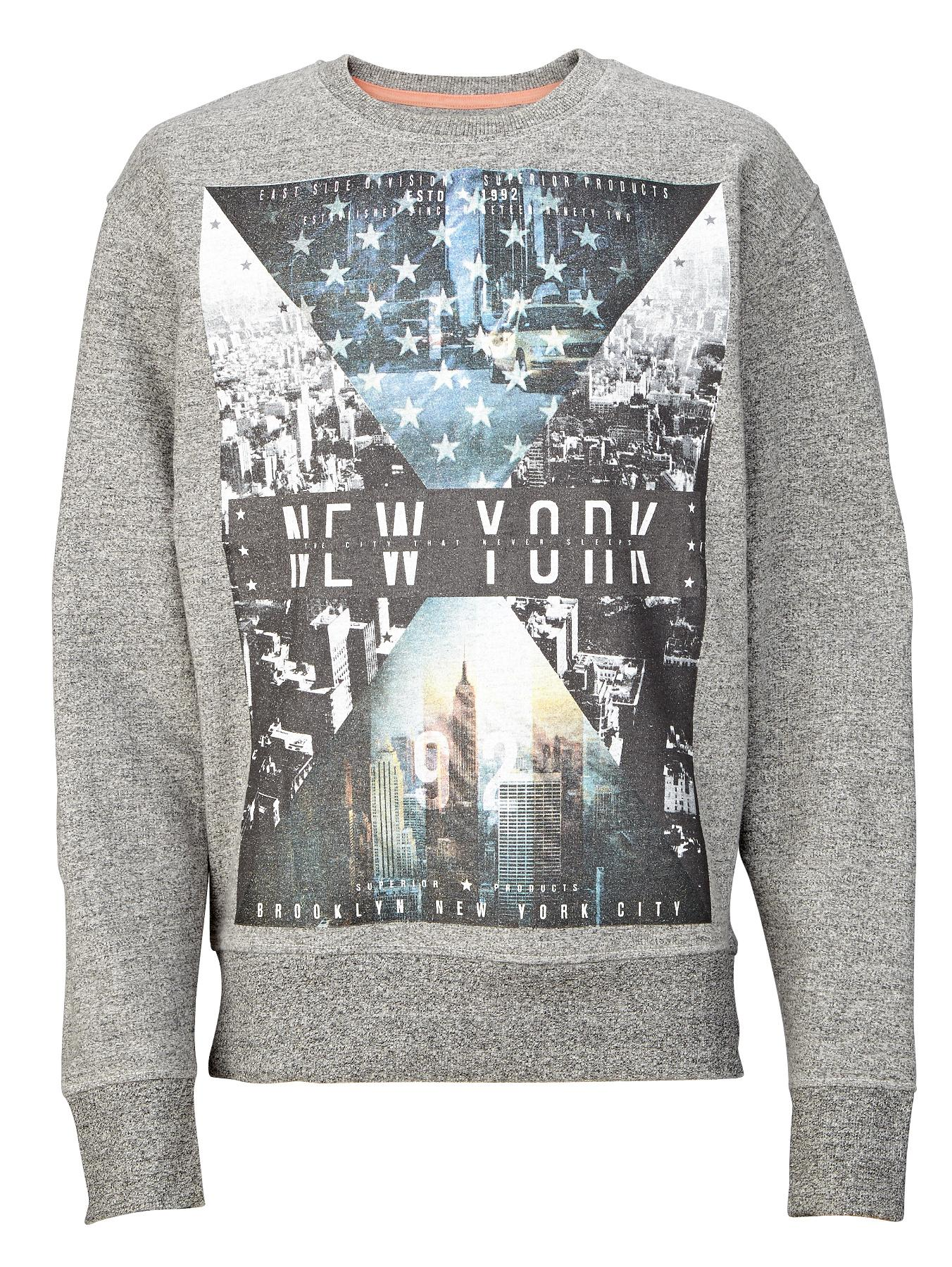 Demo Boys Cityscape Crew Sweatshirt - Grey, Grey