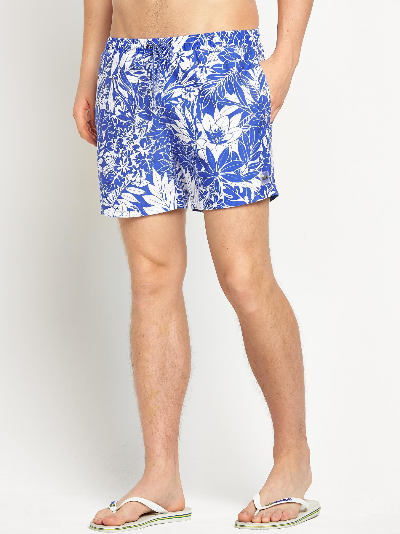 Hugo Boss Mens Piranha Swim Shorts - Blue - Blue, Blue