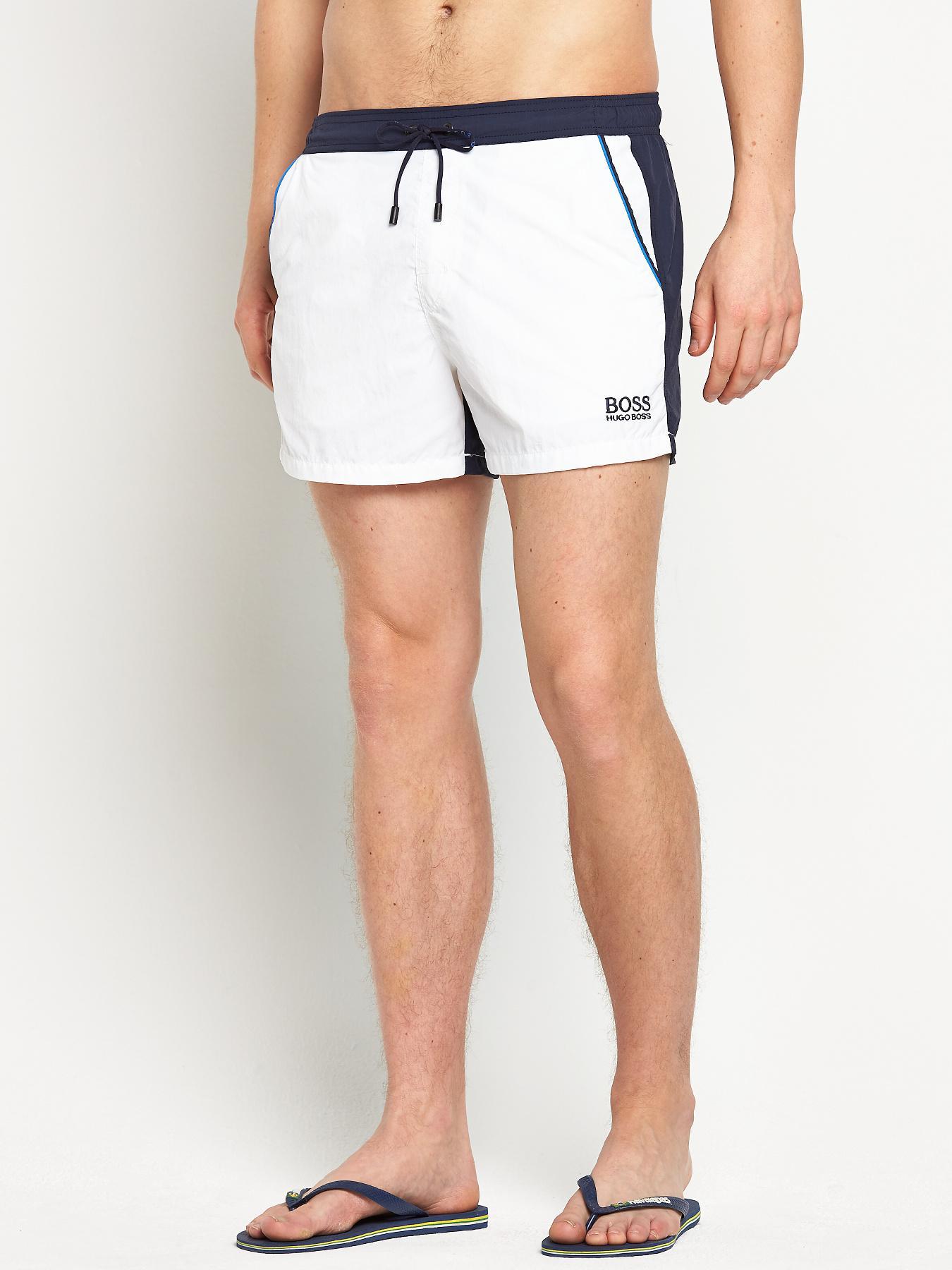 Hugo Boss Mens Snapper Swim Shorts - White - White, White