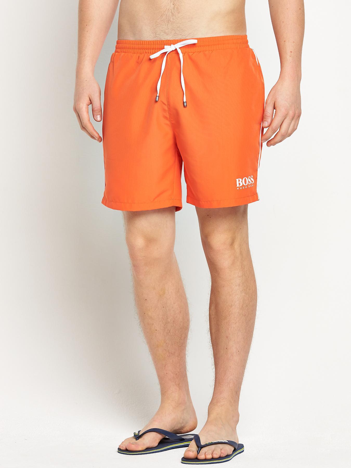 Hugo Boss Mens Starfish Swim Shorts - Orange - Orange, Orange