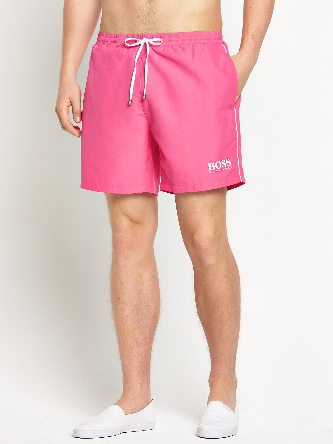 Hugo Boss Mens Starfish Swim Shorts - Pink - Pink, Pink