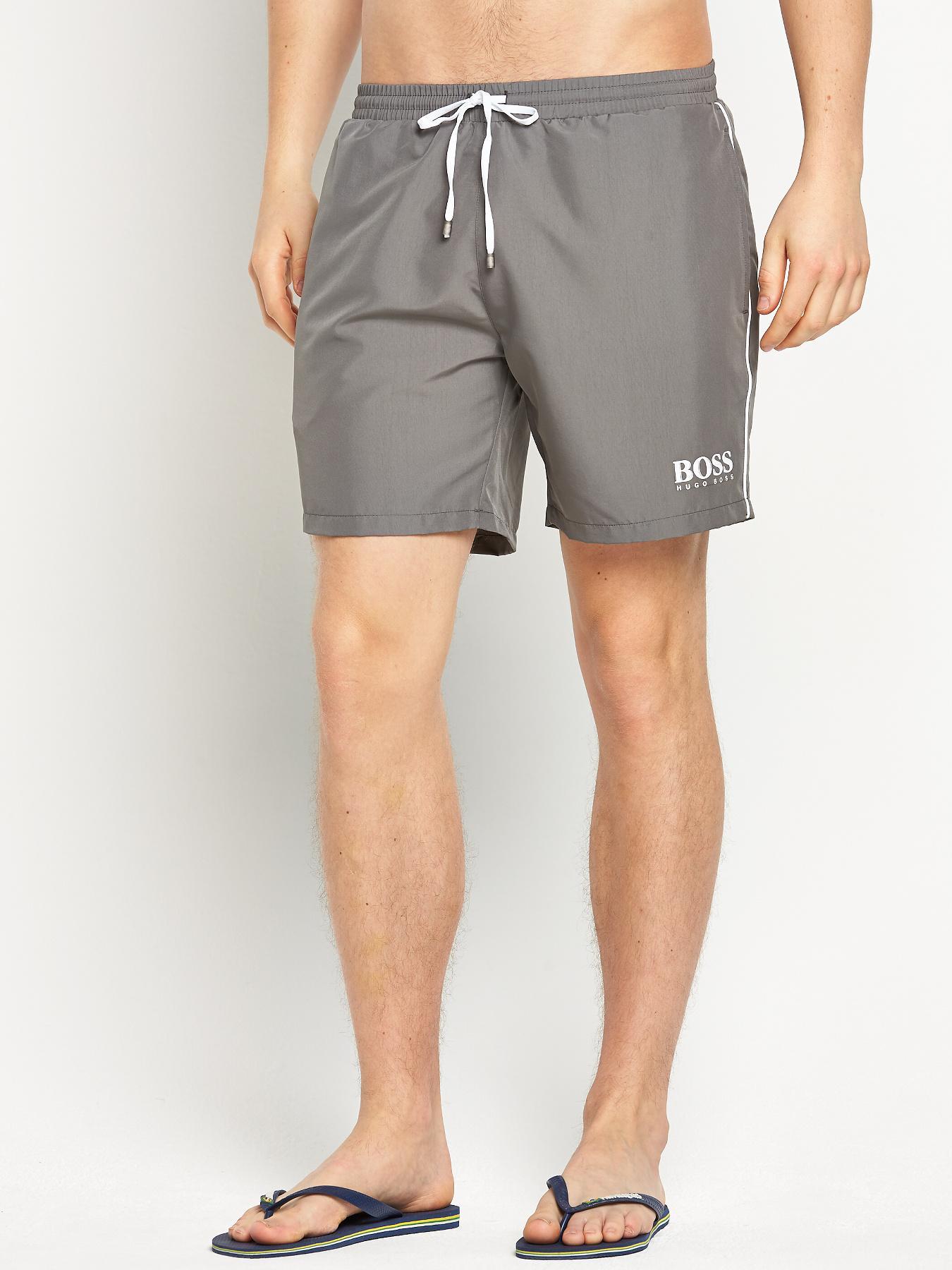 Hugo Boss Mens Starfish Swim Shorts - Grey - Grey, Grey