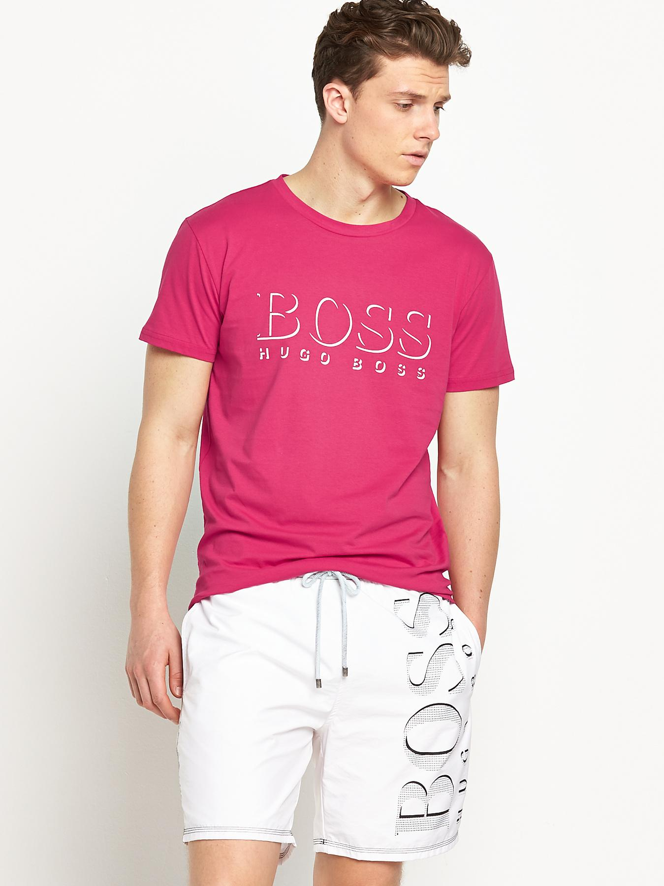 Hugo Boss Mens Short Sleeve T-shirt - Red - Red, Red