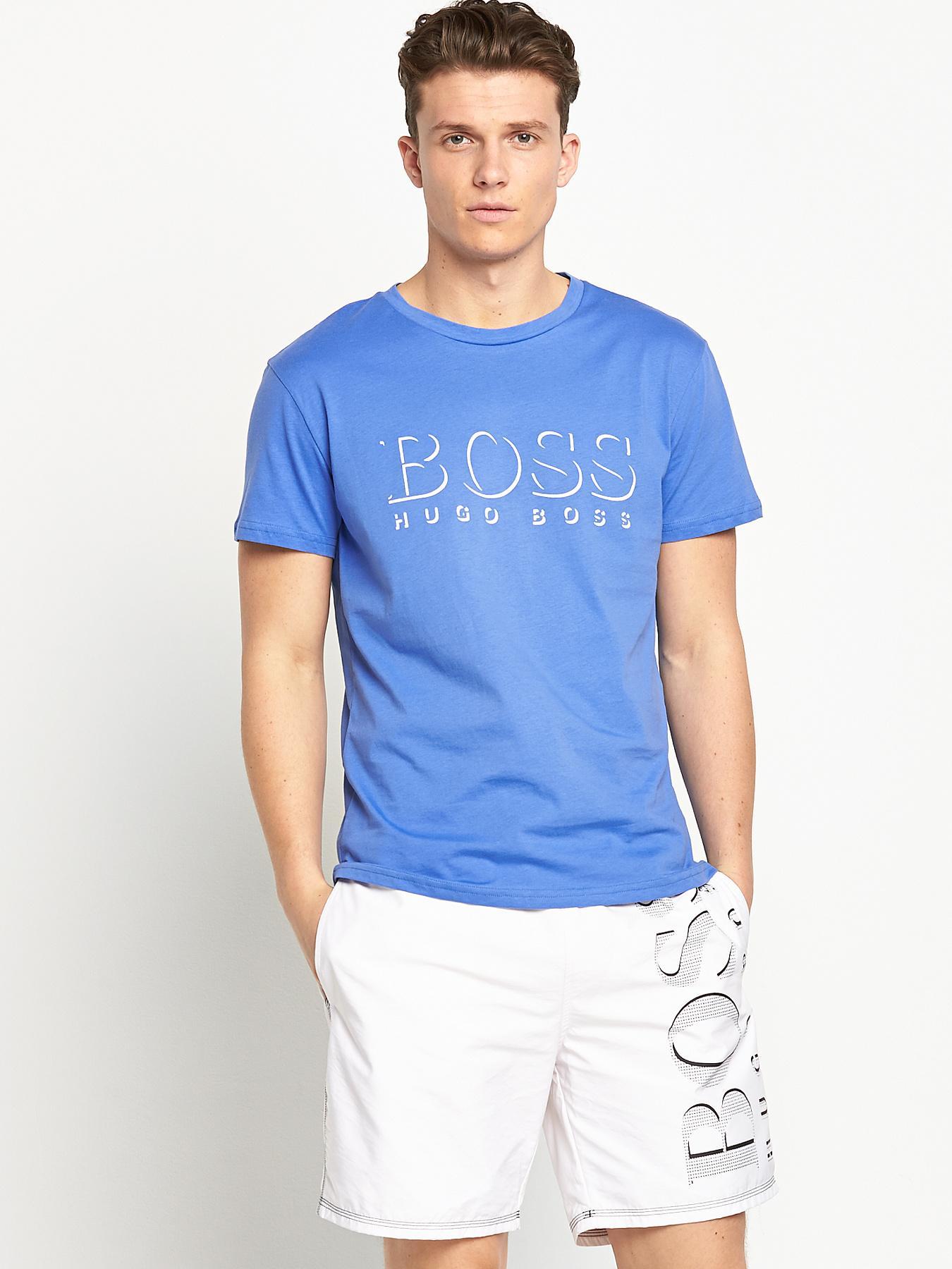 Hugo Boss Mens Short Sleeve T-shirt - Blue - Blue, Blue