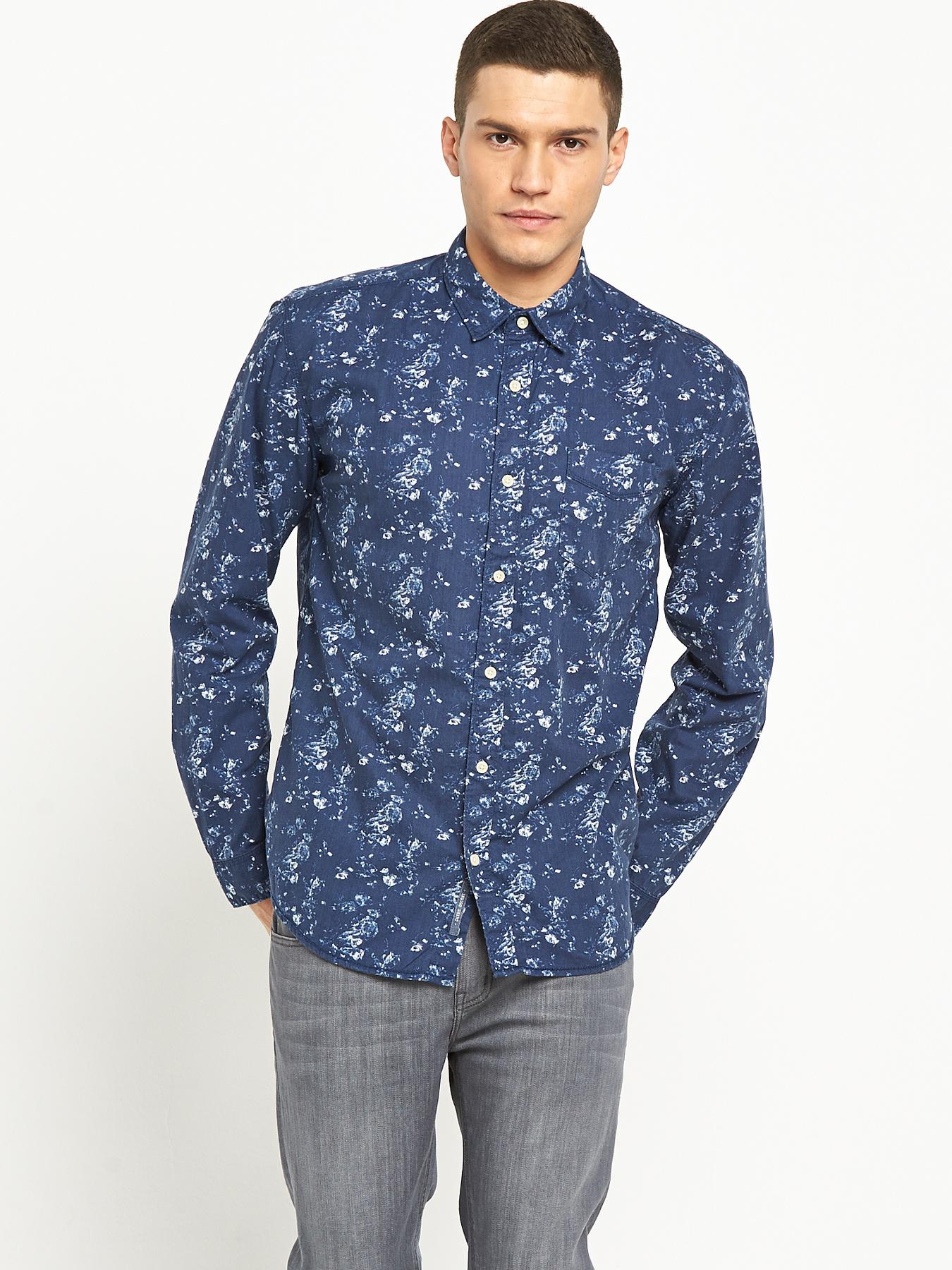 Selected Mens Long Sleeve Shirt - Blue, Blue