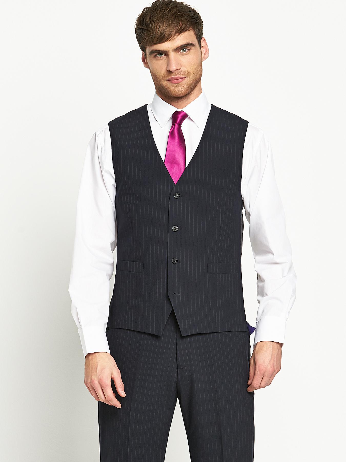 Skopes Mens Otis Suit Waistcoat - Navy Stripe - Navy, Navy