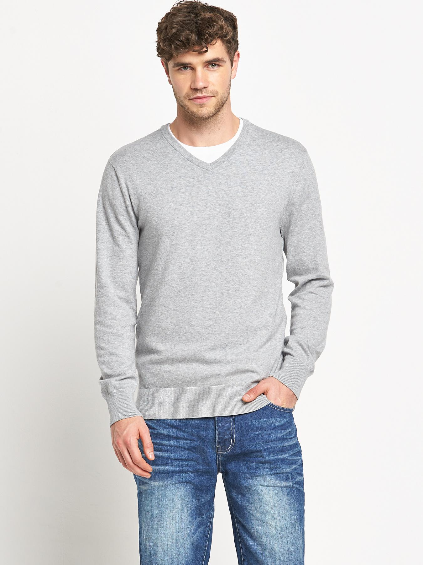 Goodsouls Mens V-Neck Jumper - Grey, Grey