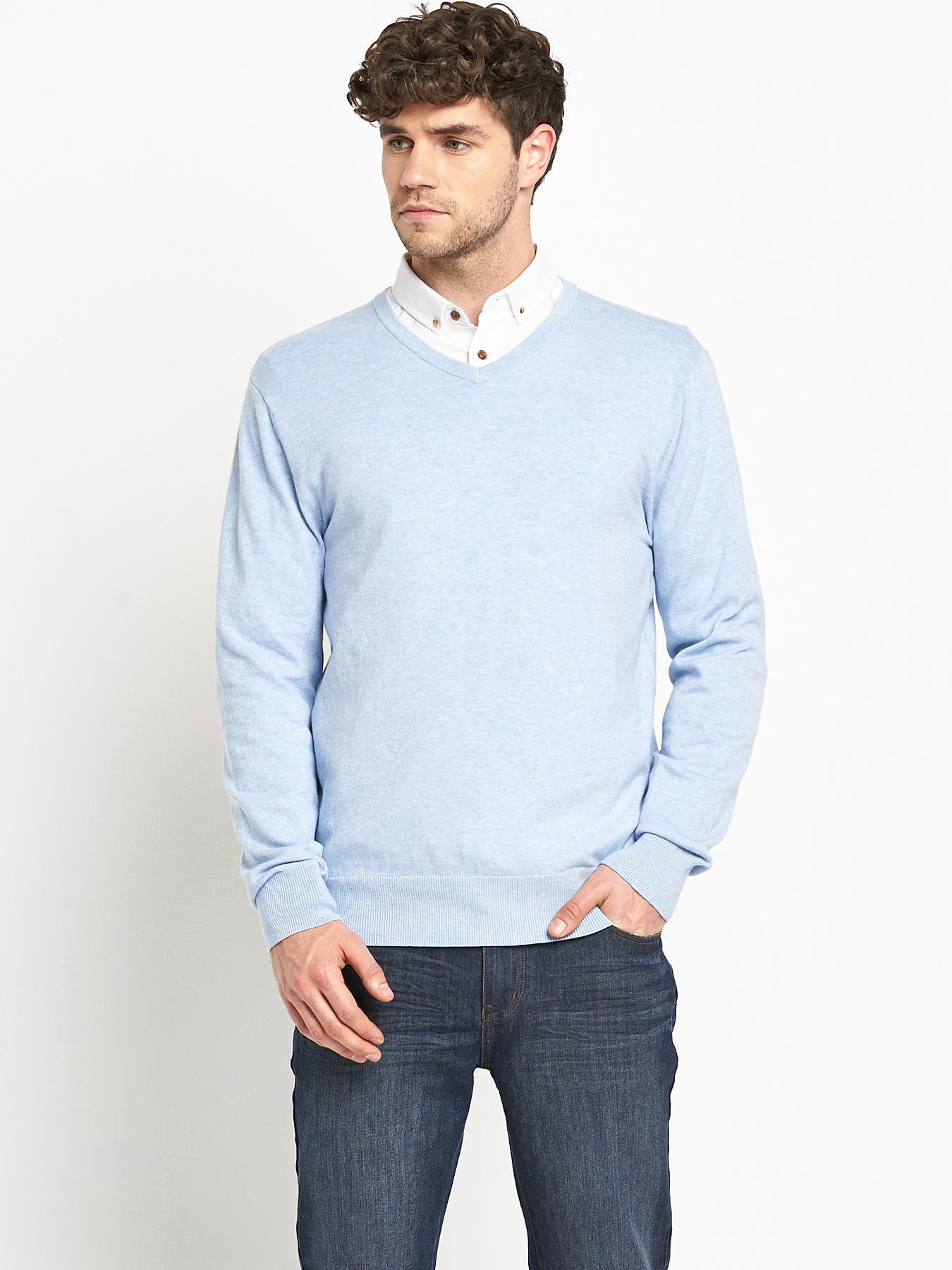 Goodsouls Mens V-Neck Jumper - Blue, Blue