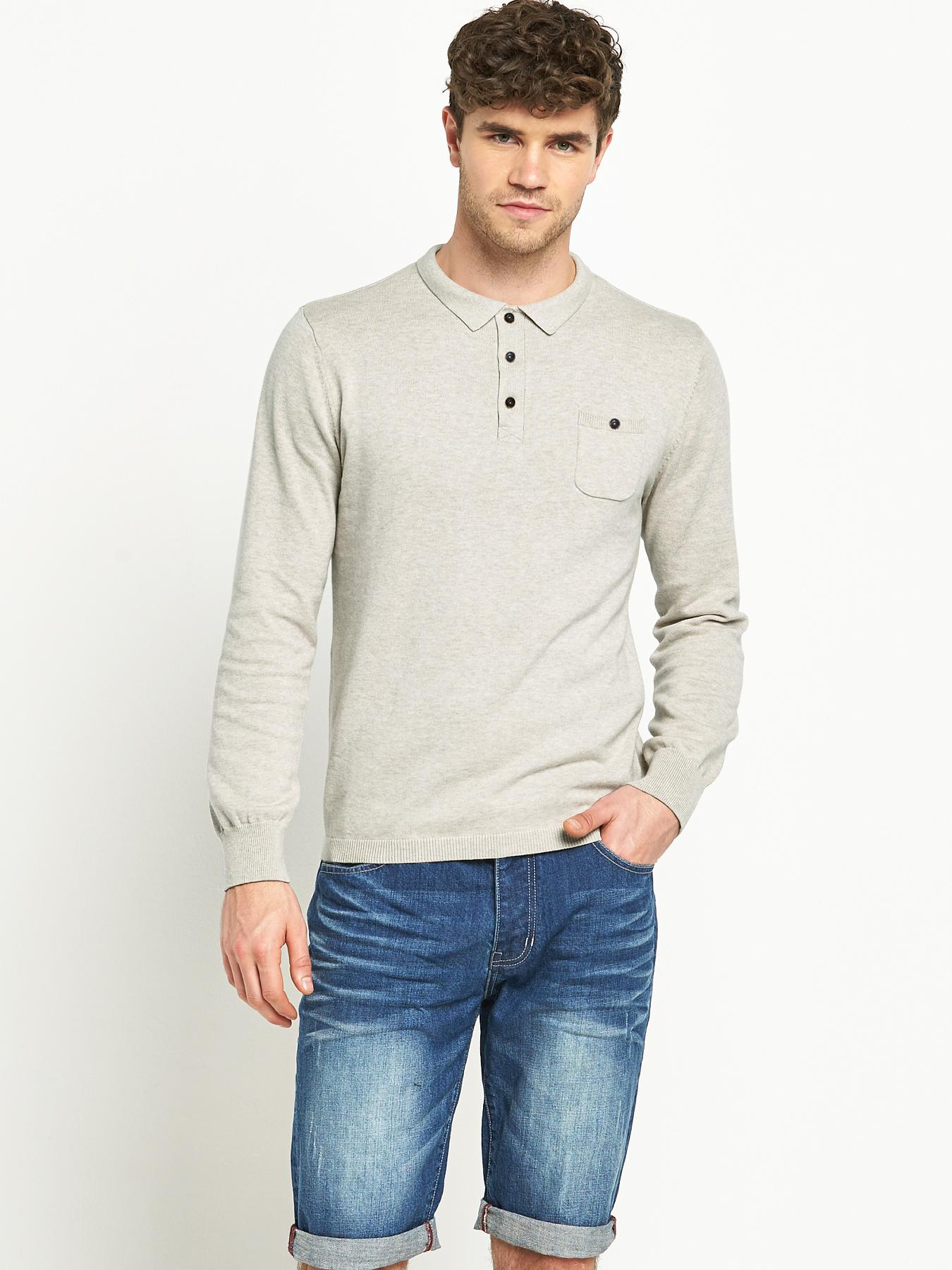 Goodsouls Mens Long Sleeve Knitted Polo Shirt - Stone, Stone
