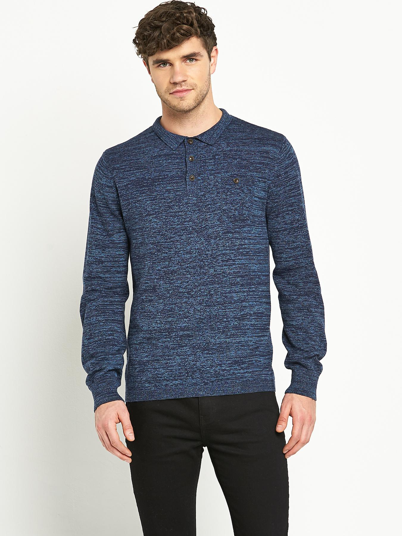 Goodsouls Mens Long Sleeve Knitted Polo Shirt - Navy, Navy
