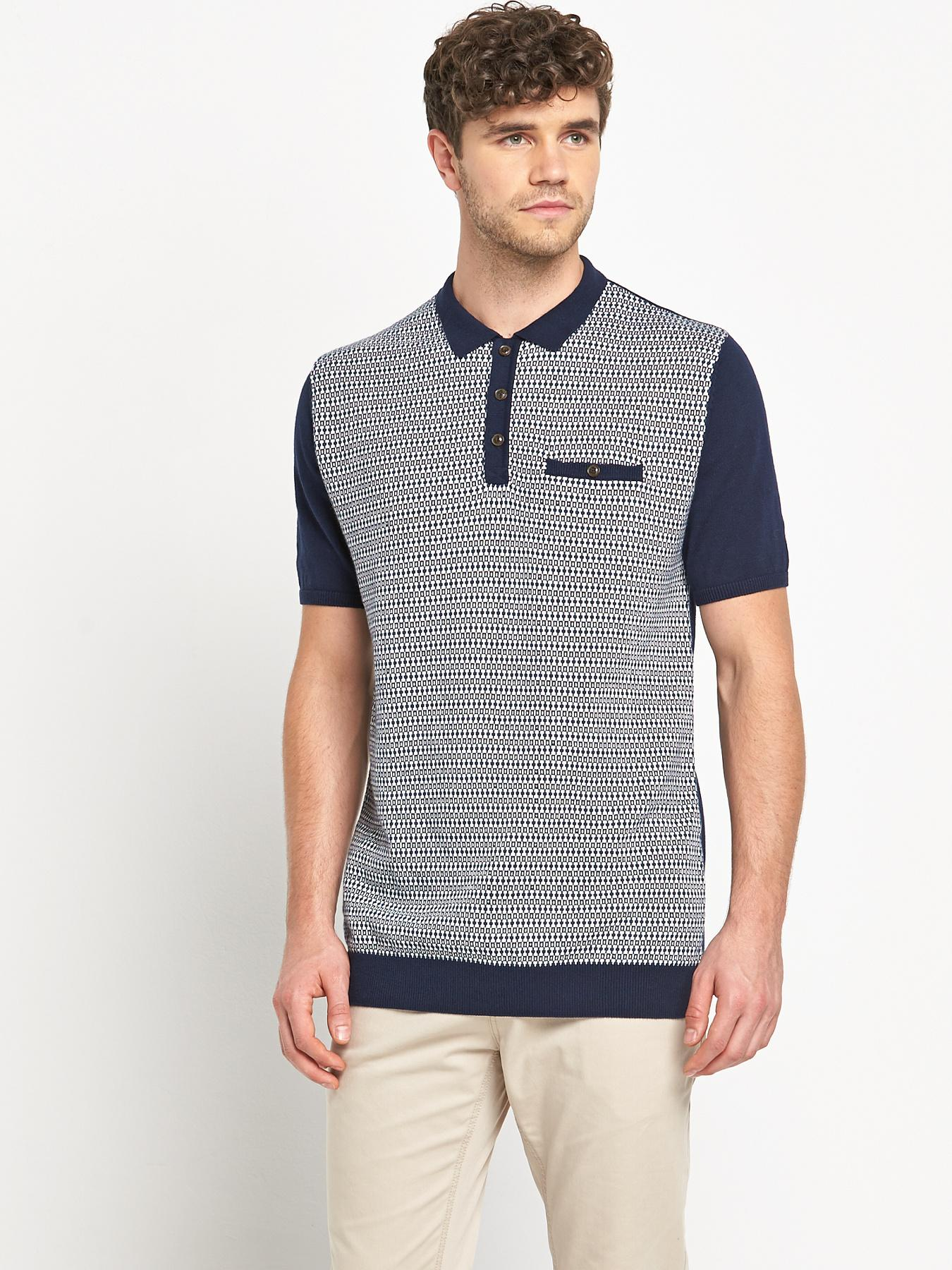 Goodsouls Mens Short Sleeve Jacquard Polo Shirt - Navy, Navy