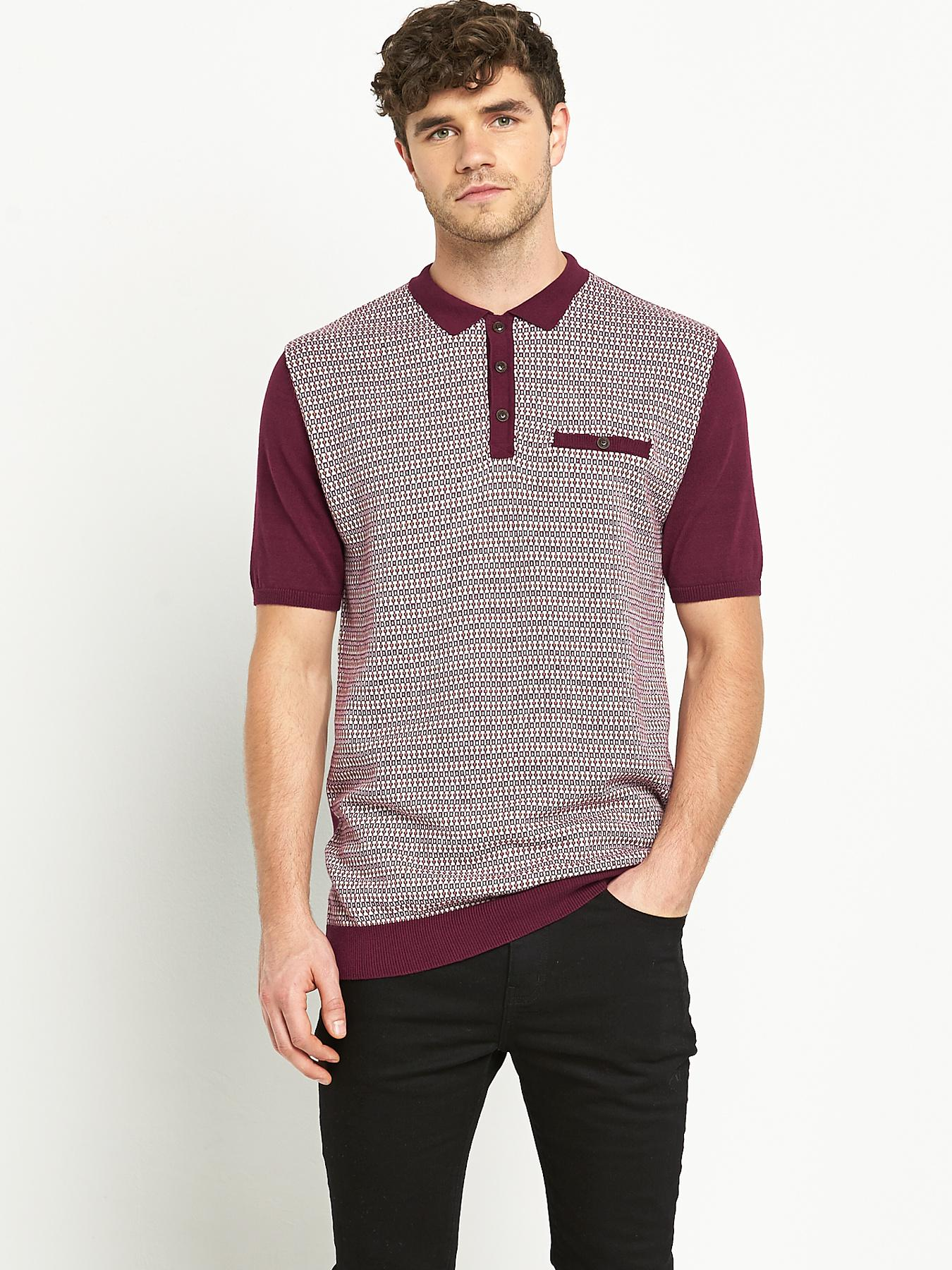 Goodsouls Mens Short Sleeve Jacquard Polo Shirt