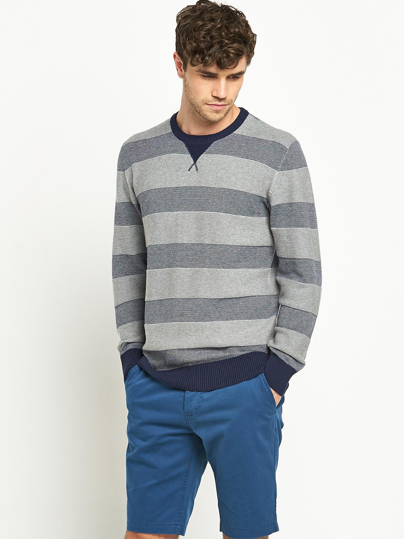 Goodsouls Mens Stripe Crew Neck Jumper - Navy, Navy