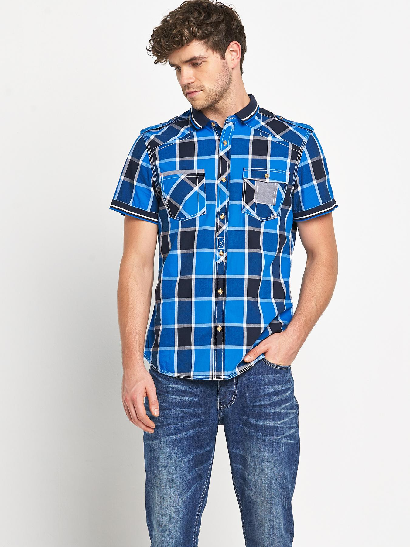 Goodsouls Mens Short Sleeve Blue Check Ribbed Collar Shirt - Blue, Blue