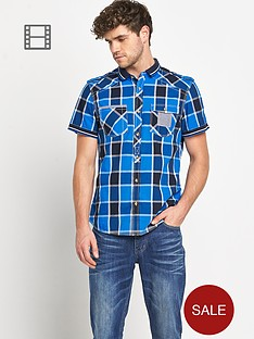 goodsouls-mens-short-sleeve-blue-check-ribbed-collar-shirt