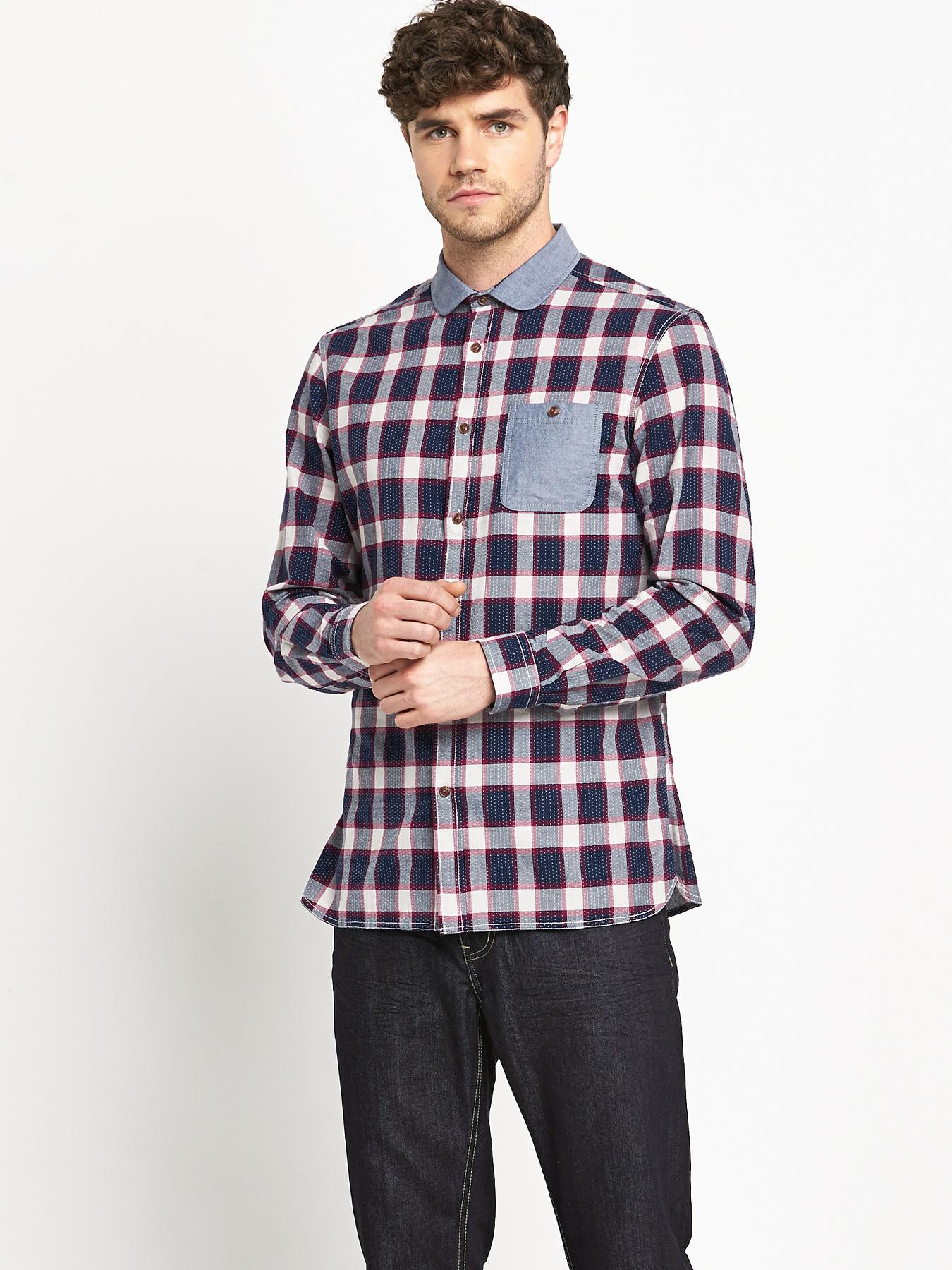Goodsouls Mens Long Sleeve Penny Collar Check Shirt - Navy, Navy