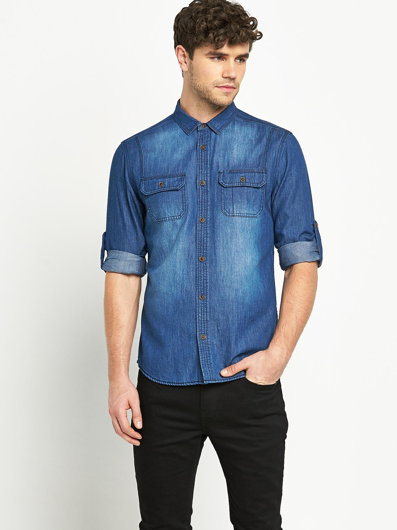 Goodsouls Mens Long Sleeve Double Pocket Denim Shirt - Blue, Blue
