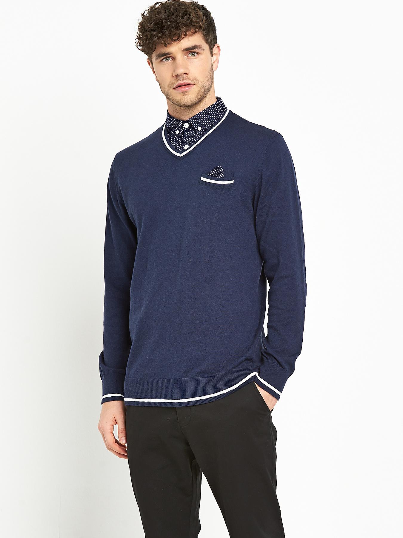 Goodsouls Mens Mock Shirt - Navy, Navy