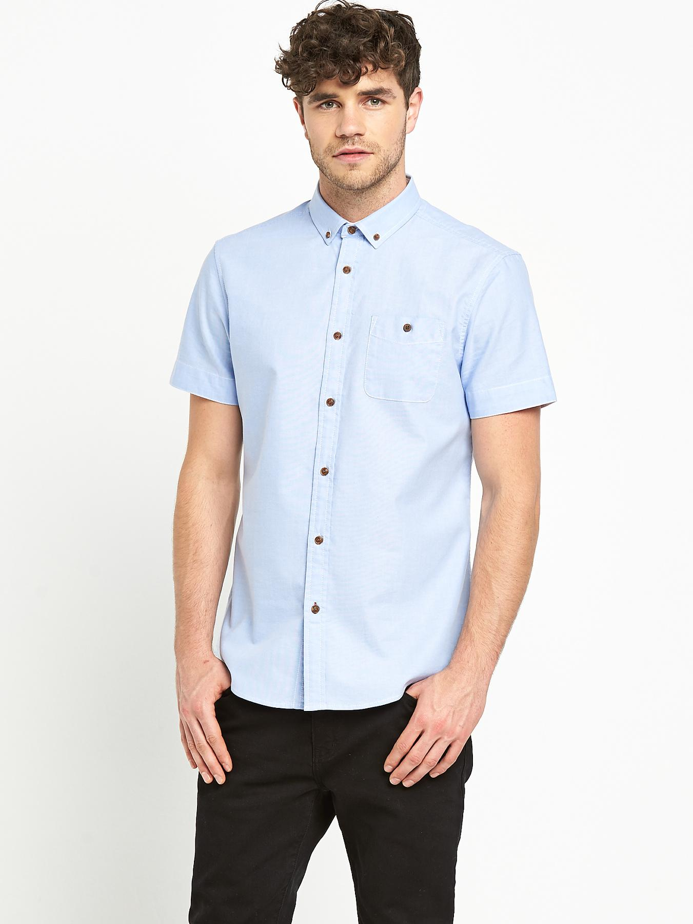 Goodsouls Mens Short Sleeve Blue Oxford Shirt - Blue, Blue