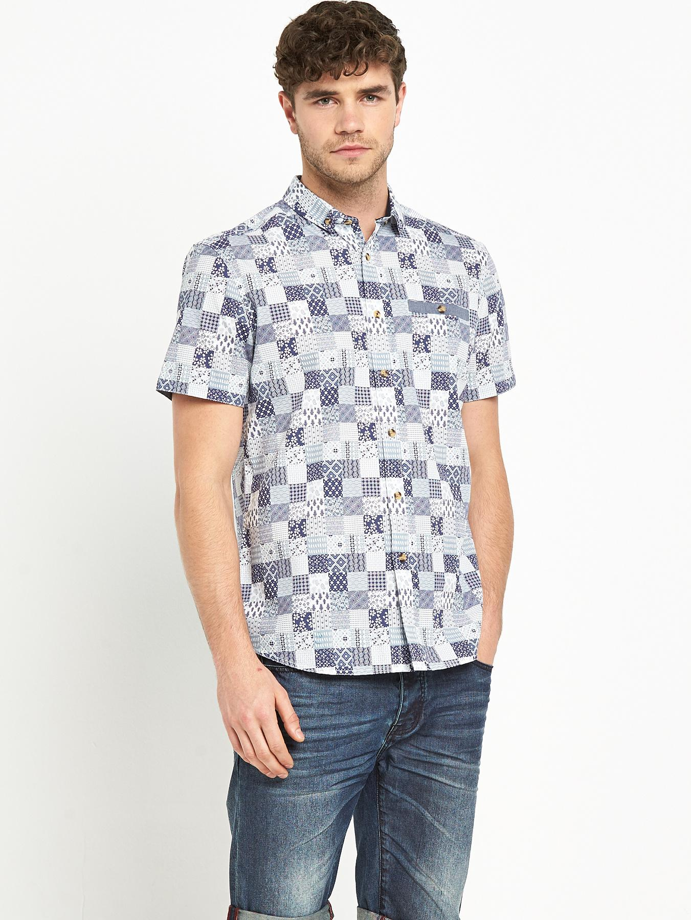 Goodsouls Mens Short Sleeve Navigate Print Shirt - White, White