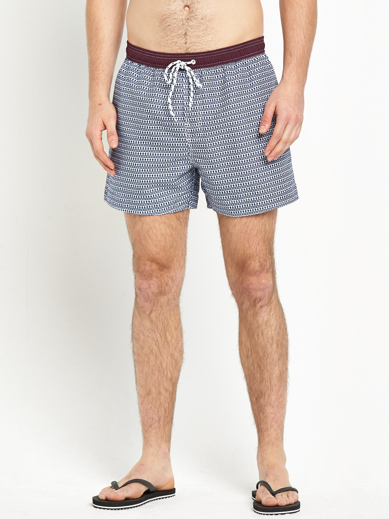 Goodsouls Mens Printed Swimshorts - Navy, Navy