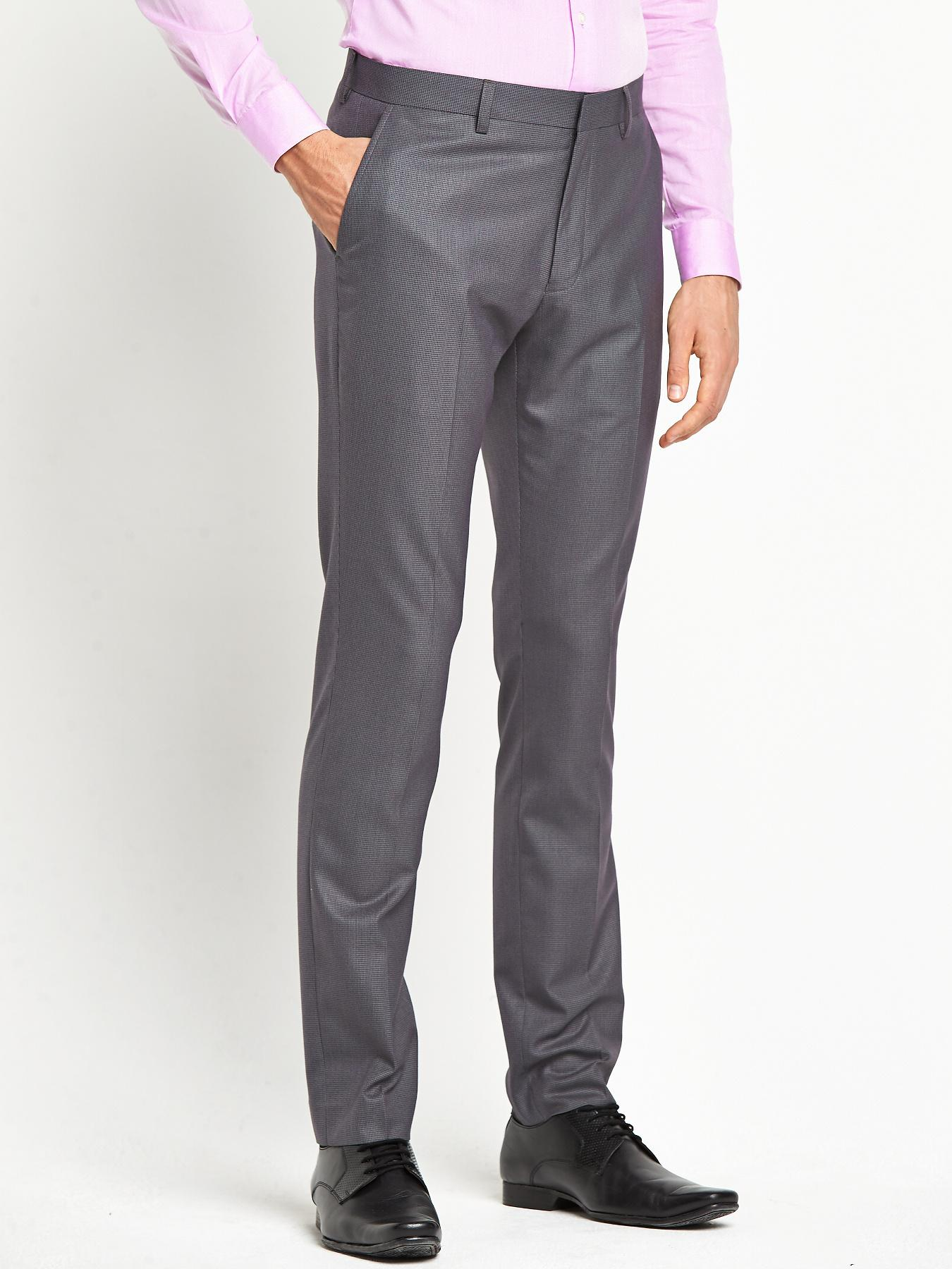 Taylor & Reece Mens Skinny Fit Puppytooth PV Trousers - Grey, Grey