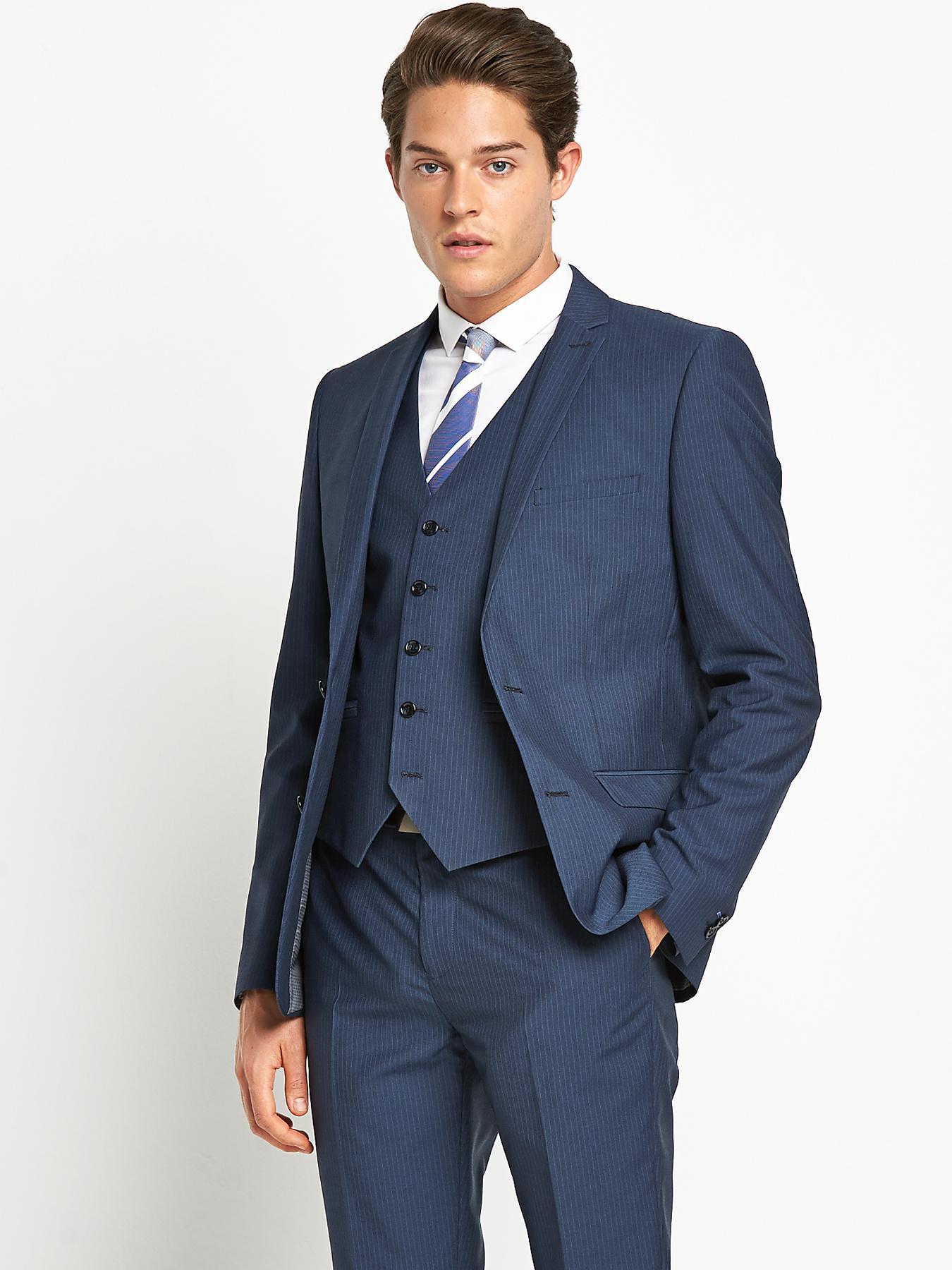 Taylor & Reece Mens Slim Pinstripe Suit Jacket - Blue, Blue