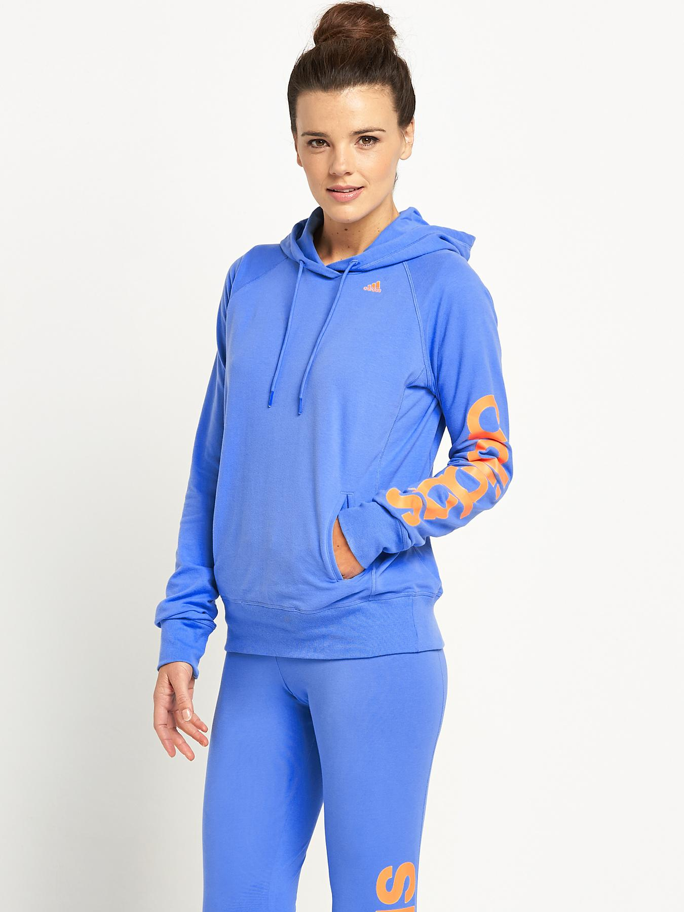 adidas Essentials Linear Hooded Top - Blue, Blue