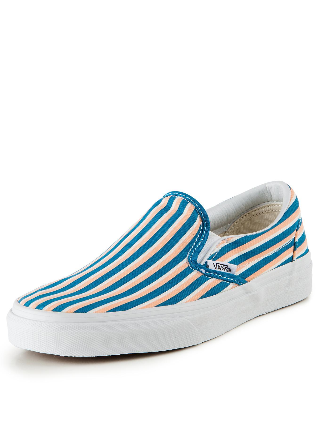 Vans Classic Slip-On Stripe Plimsolls - Teal, Teal