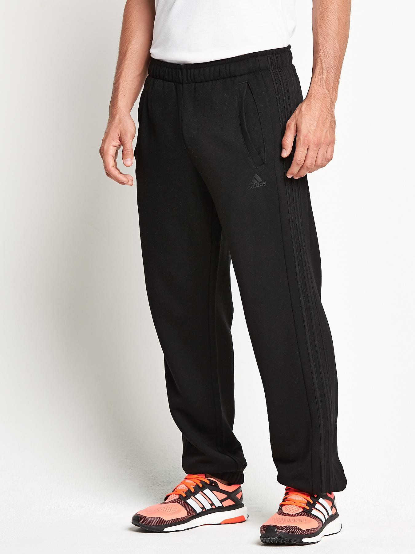 adidas Essentials Mens 3S Fleece Cuffed Pants - Black, Black