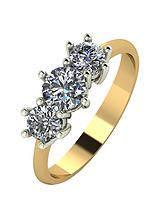 18 Carat Yellow Gold, 1 Carat Trilogy Ring