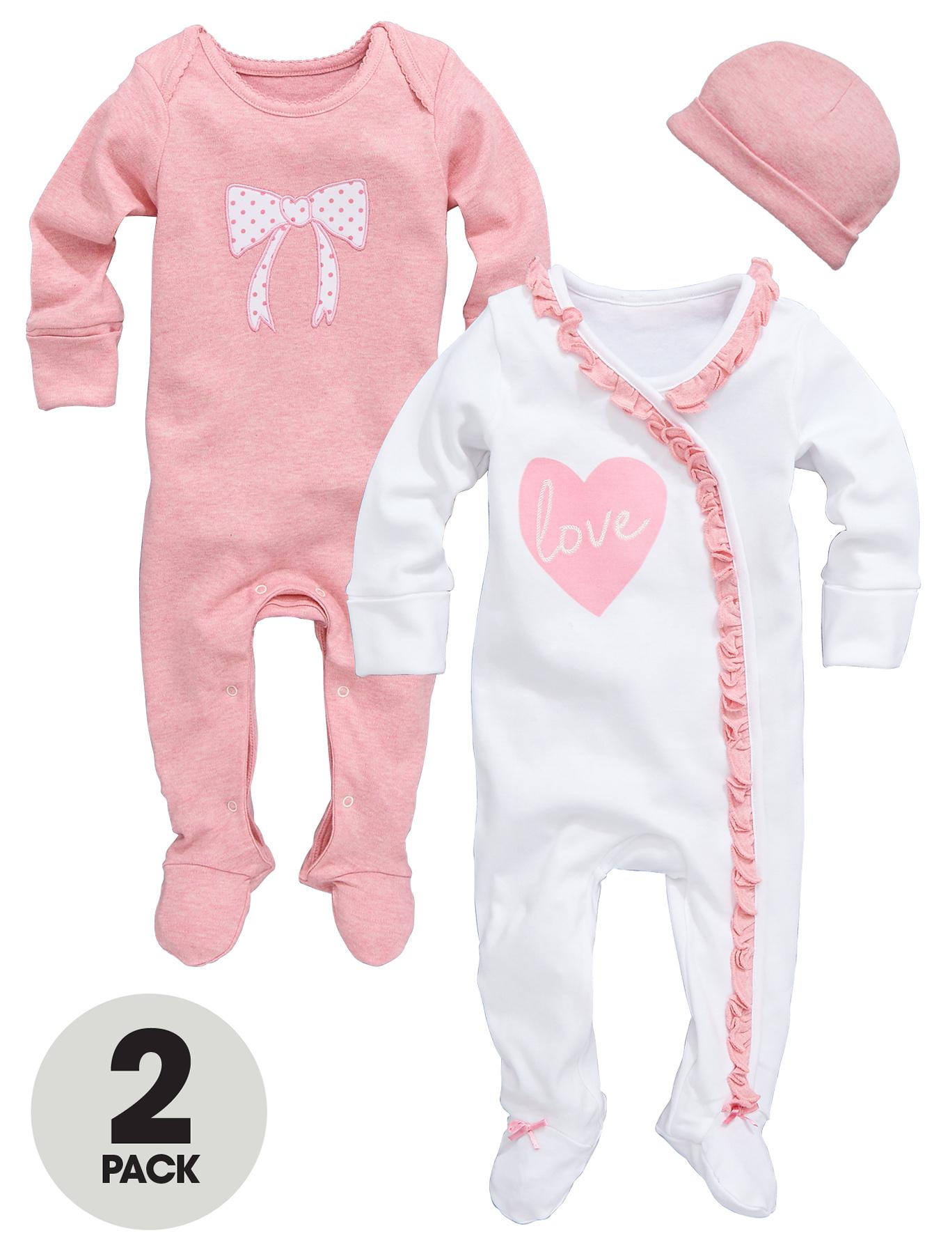 Ladybird Baby Girls Love Heart Sleepsuits with Hat (2 Pack) - Pink, Pink
