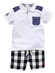 ladybird-boys-check-shorts-and-polo-t-shirt-set-2-piece