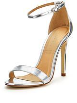 Isabella Minimal Ankle Strap Heeled Sandals Silver