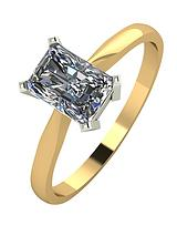 9 Carat Yellow Gold, 1.1 Carat Radiant Cut Solitaire Ring