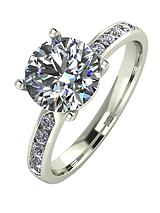 9 Carat White Gold, 2.3-Carat Solitaire Ring with Moissanite Set Shoulders